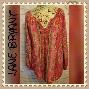 LANE BRYANT BRIGHT PINK TUNIC TOP
